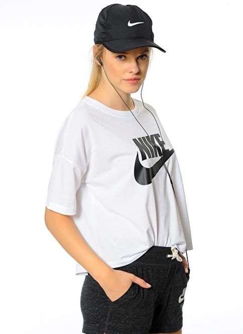 Nike Bisiklet Yaka Baskılı Tişört Beyaz